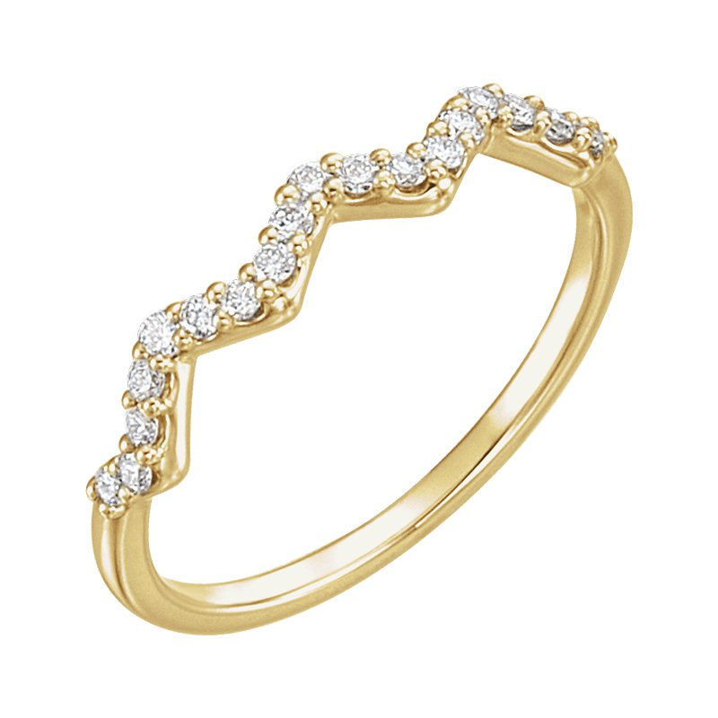 Signature Collection 14k White Gold Zig Zag Diamond Stackable Ring