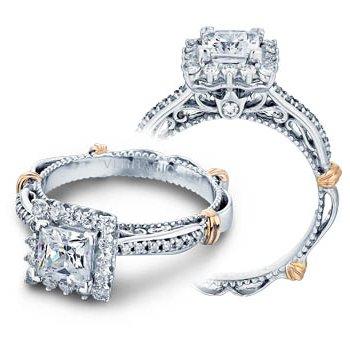 Verragio Parisian-119P - 14k White and Rose Gold Diamond Halo Engagement Ring by Verragio