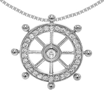 14k White Gold Diamond Ship's Wheel Pendant