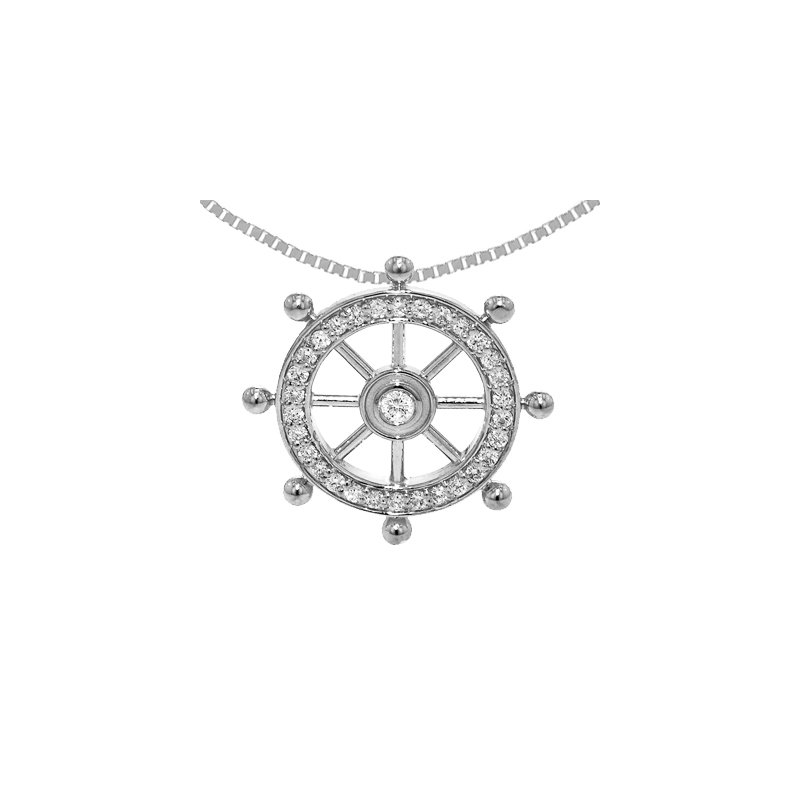 Sealife Jewelry 14k White Gold Diamond Ship's Wheel Pendant