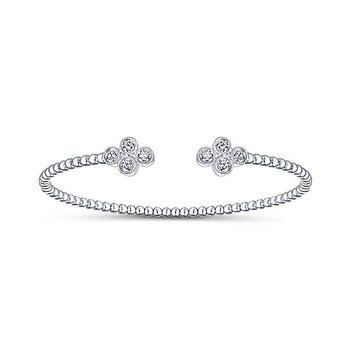 14k White Gold Sophisticated Diamond Motif Bangle Bracelet by Gabriel NY