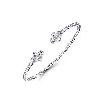 14k White Gold Sophisticated Diamond Motif Bangle Bracelet by Gabriel NY