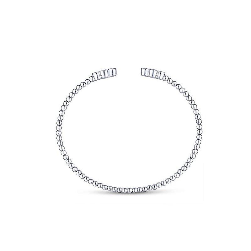 Signature Collection 14k White Gold Sophisticated Diamond Motif Bangle Bracelet by Gabriel NY