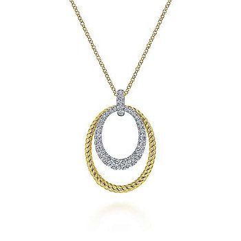 14k White-Yellow Gold Oval Twisted Rope and Pavé Diamond Pendant Necklace by Gabriel NY