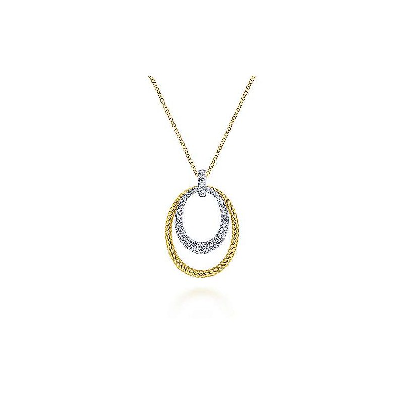 Signature Collection 14k White-Yellow Gold Oval Twisted Rope and Pavé Diamond Pendant Necklace by Gabriel NY