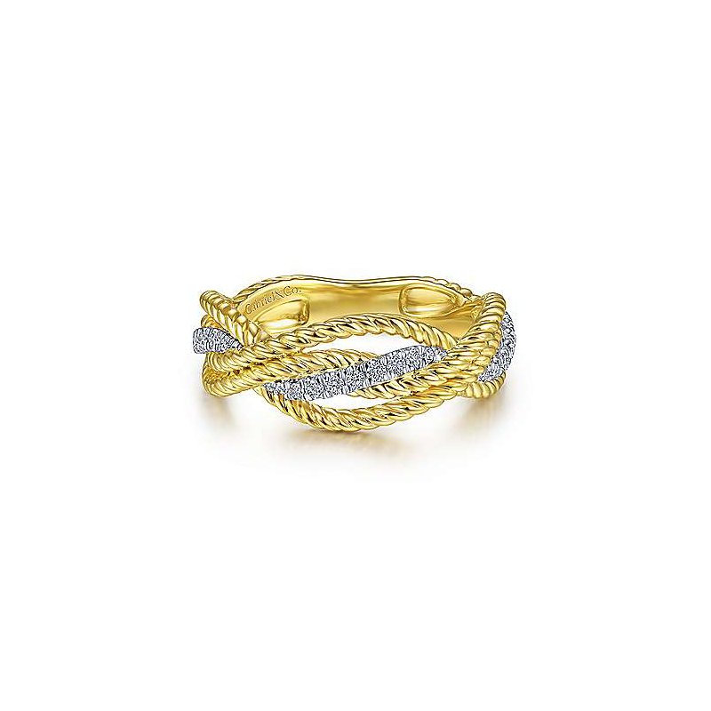 Signature Collection 14k White & Yellow Twisted Rope Ring with Diamonds by Gabriel NY