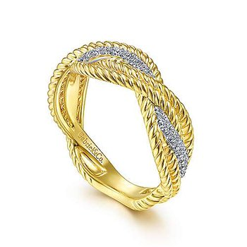 14k White & Yellow Twisted Rope Ring with Diamonds by Gabriel NY