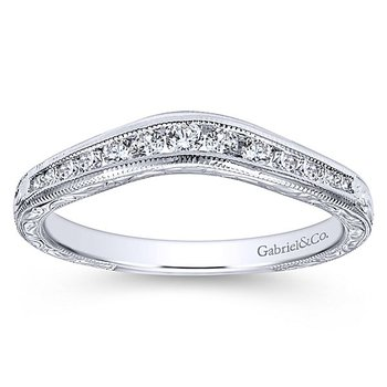 Graceful Engraved Curved Diamond Wedding Band by Gabriel NY
