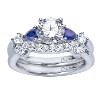 Gabriel NY 14k White Gold Sapphire and Diamond Engagement Ring