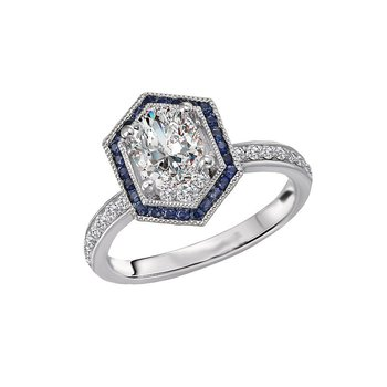 14k White Gold Hexagon Halo Engagement Ring with Sapphires and Diamonds