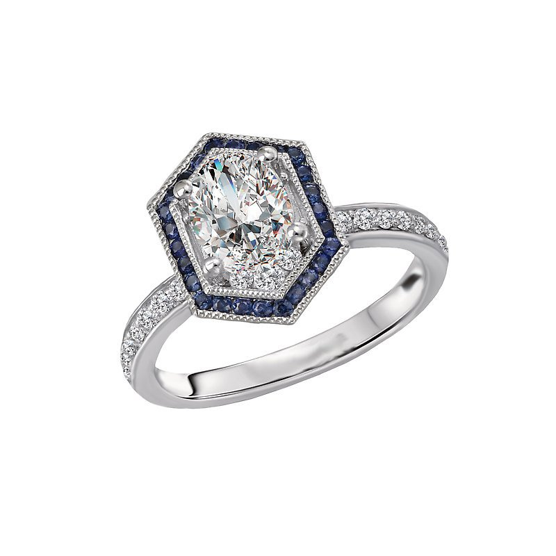 Signature Collection 14k White Gold Hexagon Halo Engagement Ring with Sapphires and Diamonds