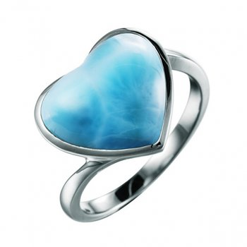 Alamea Sterling Silver Larimar Heart Ring