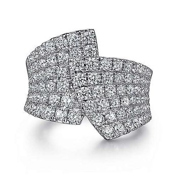 14k White Gold Bypass Diamond Ring by Gabriel NY