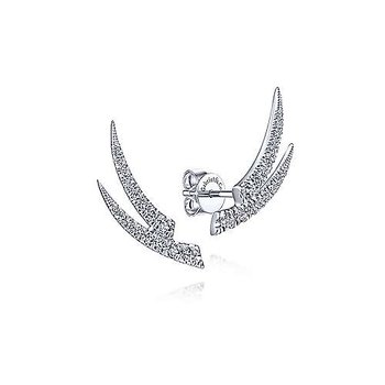 14k White Gold Double Bar Diamond Earrings by Gabriel NY