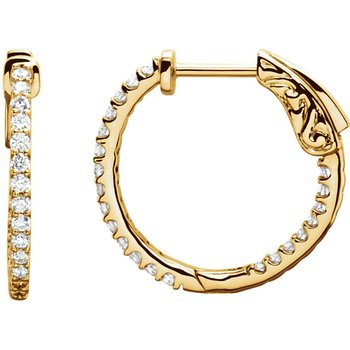 14k Yellow Gold Inside Out 1/2ctw Diamond Hoop Earrings in 14k Yellow Gold