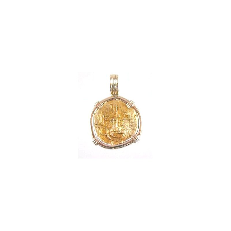 Coin Jewelry Genuine Spanish 2 Escudo Gold 1715 Plate Fleet Shipwreck Gold Coin framed in 14k Yellow Gold