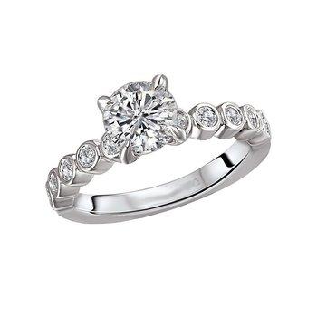 14k White Gold Bubble Diamond Engagement Ring