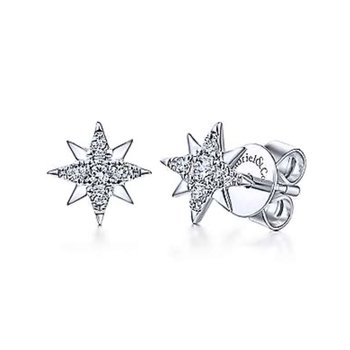 14k White Gold Star Diamond Stud Earrings by Gabriel NY