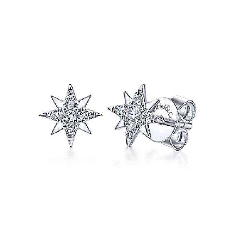 Signature Collection 14k White Gold Star Diamond Stud Earrings by Gabriel NY