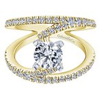 Gabriel NY 14k White Gold Freeform Swirl Diamond Ring from the Gabriel Collection