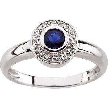 Genuine Sapphire & Diamond Ring - EL425134