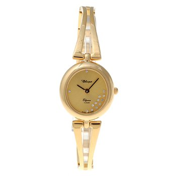 Classique Ladies' Stainless Steel Gold Plated Swiss Quartz 1/2 Bangle Watch - #18-89G Champ