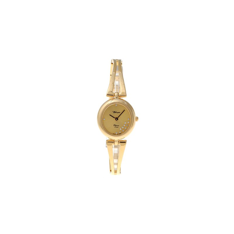 Swiss Watches Classique Ladies' Stainless Steel Gold Plated Swiss Quartz 1/2 Bangle Watch - #18-89G Champ