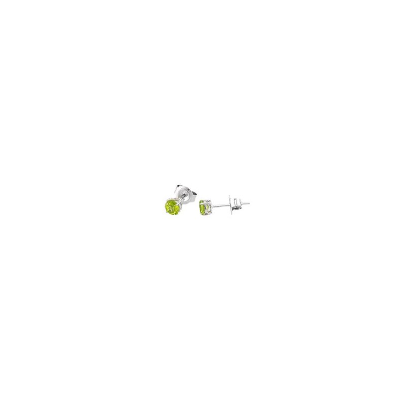 Signature Collection Genuine Peridot Earrings in 14k White Gold
