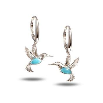 Sterling Silver Hummingbird Earrings with Larimar.
