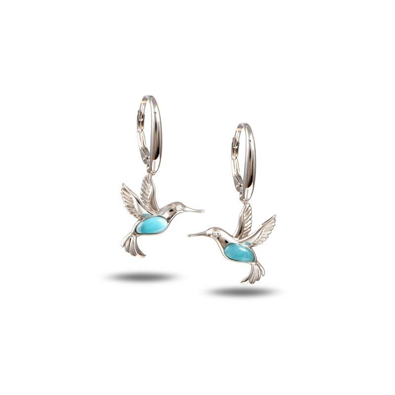 Alamea Larimar  Sterling Silver Hummingbird Earrings with Larimar.