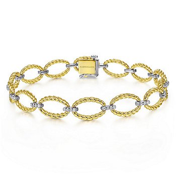 """14k Yellow & White Gold 7"""" Twisted Rope and Diamond Bracelet by Gabriel NY"""