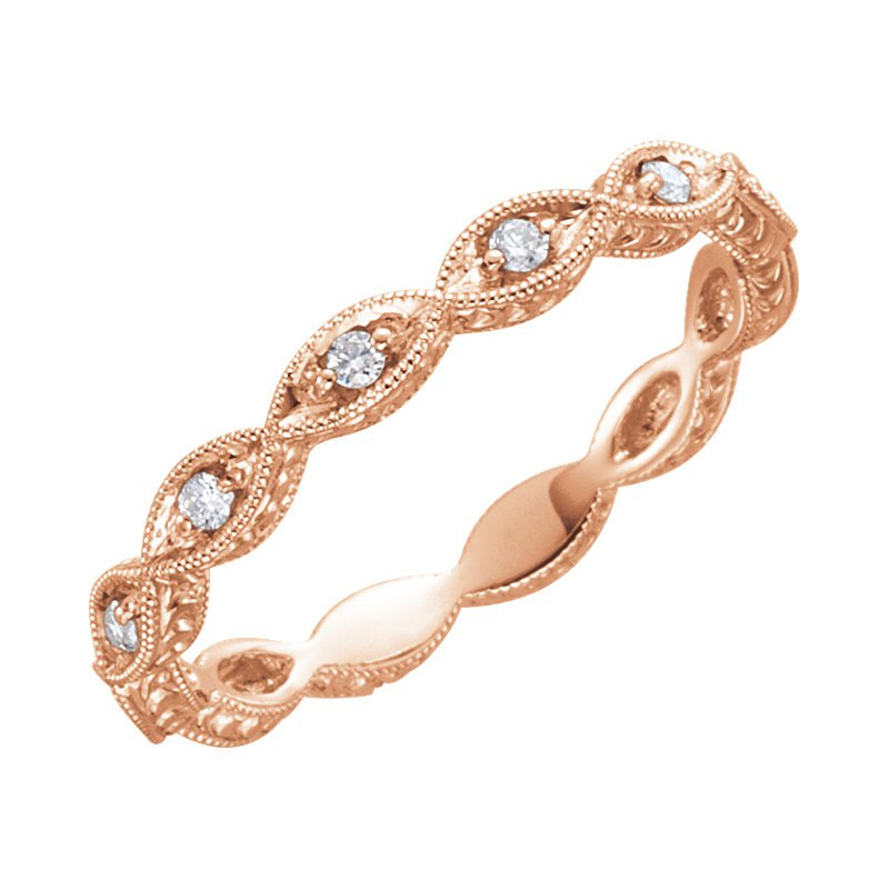 Signature Collection 14k Rose Gold Diamond Wedding Ring from our Stackable Collection