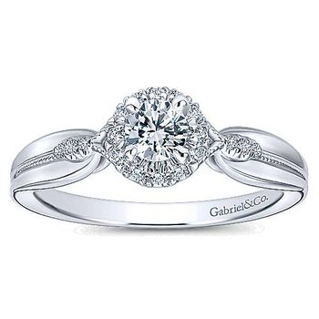 Adore Collection 14k White Gold Round Halo Complete Engagement Ring by Gabriel NY