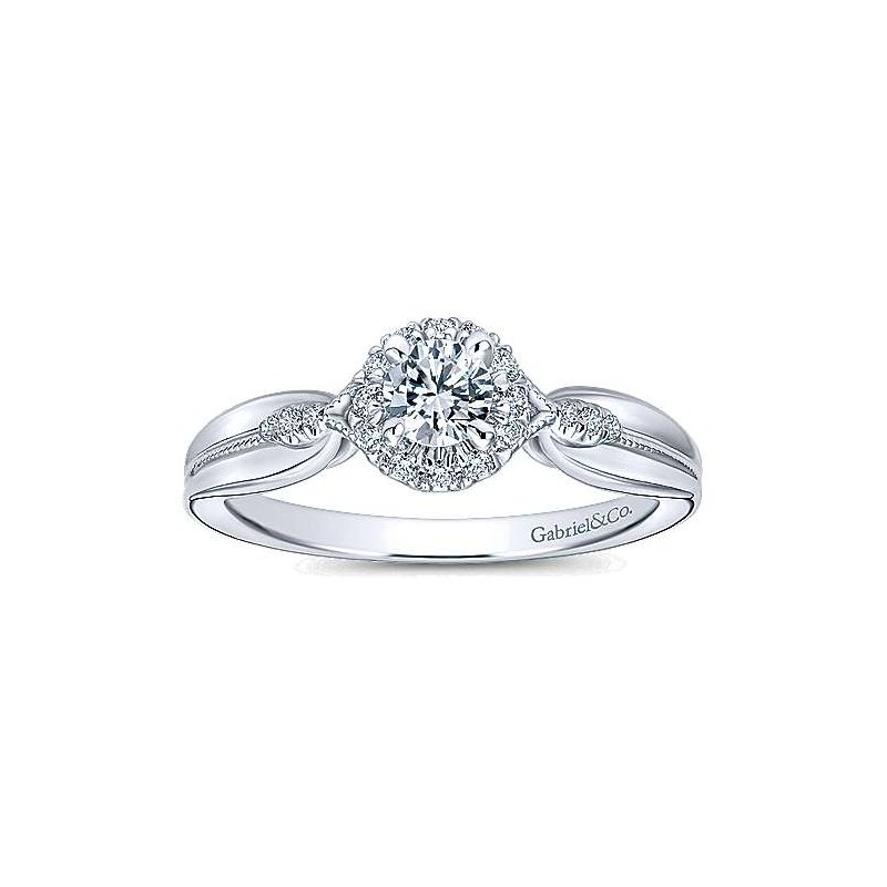 Gabriel NY Adore Collection 14k White Gold Round Halo Complete Engagement Ring by Gabriel NY