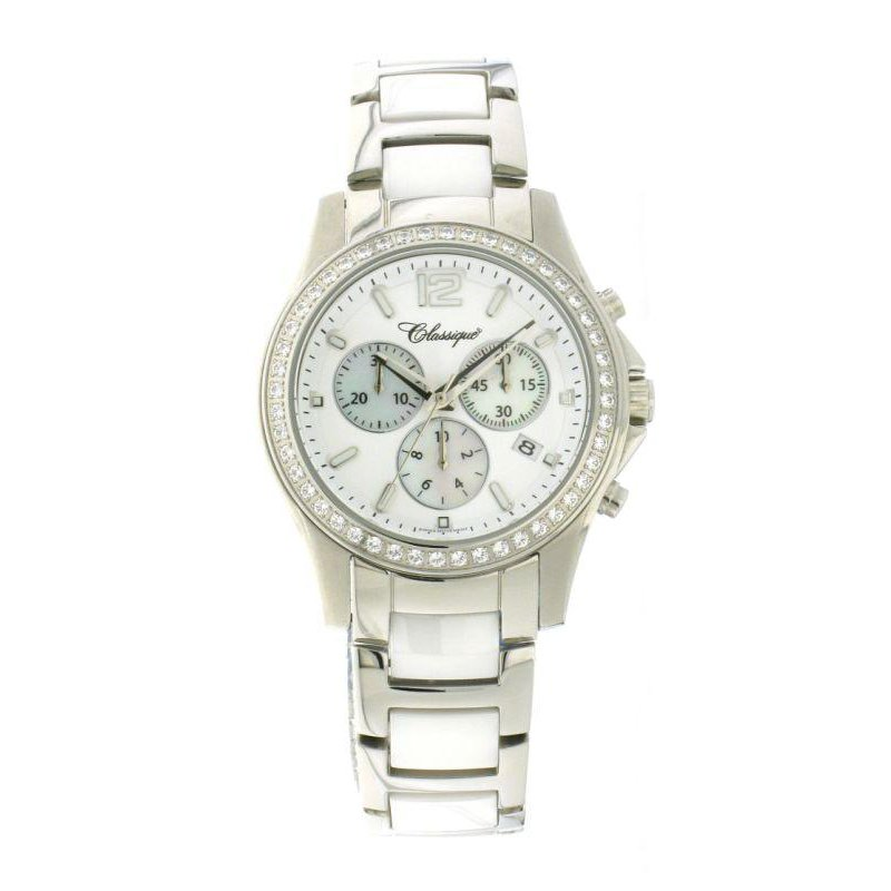 Swiss Watches Classique Ladies' Chronograph White Ceramic Watch - #87-04WW