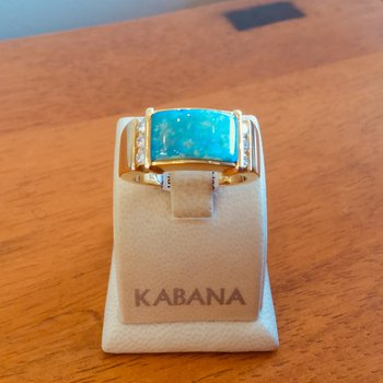 Kabana Australian Opal Inlay and Diamond Ring