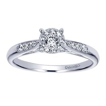 Adore Collection 14k White Gold Filigree Diamond Engagement Ring by Gabriel NY