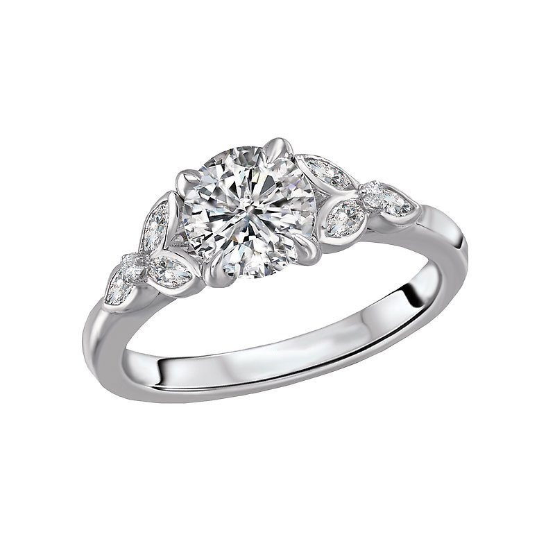Signature Collection 14k White Gold Diamond Mounting with Marquise Shapes
