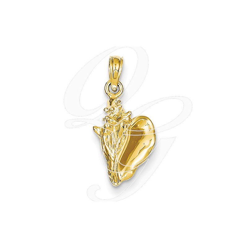Sealife Jewelry Quality Collection 14k Yellow Gold 3-D Conch Shell Pendant