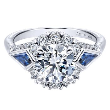 Platinum Vintage Style Diamond Engagement Ring with fancy shape Sapphires from the Amavida Collection by Gabriel NY