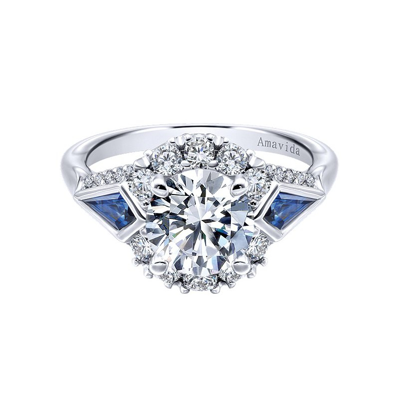 Gabriel NY Platinum Vintage Style Diamond Engagement Ring with fancy shape Sapphires from the Amavida Collection by Gabriel NY