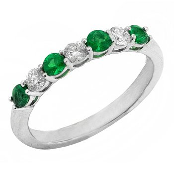 Genuine Emerald and Diamond Ring in 14k White Gold