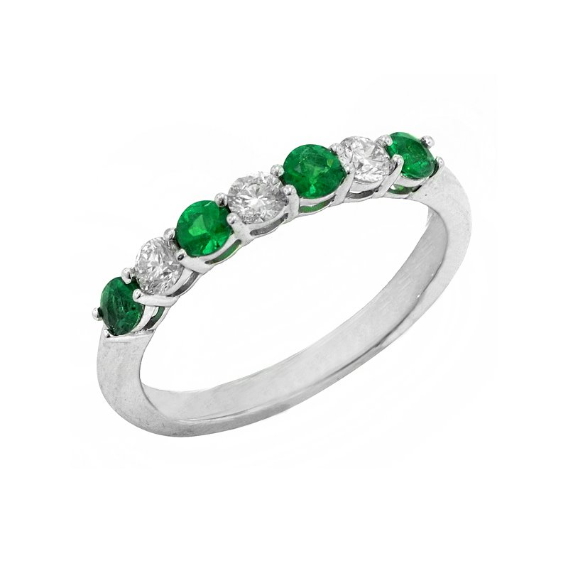 Signature Collection Genuine Emerald and Diamond Ring in 14k White Gold