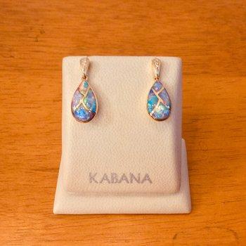 Kabana Australian Opal Drop Diamond Earrings in 14k Yellow Gold