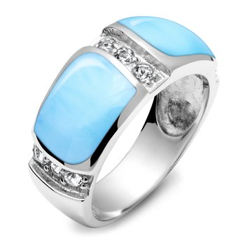 Marahlago Marina Collection Ring with Larimar and White Topaz