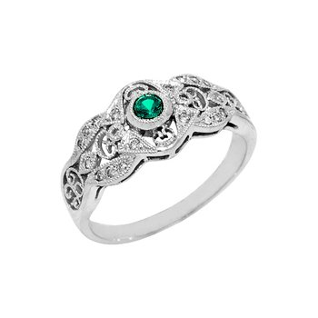 .28ct Vintage Filigree Genuine Emerald & Diamond Ring
