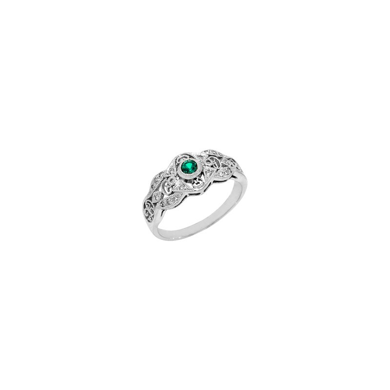 Signature Collection .28ct Vintage Filigree Genuine Emerald & Diamond Ring