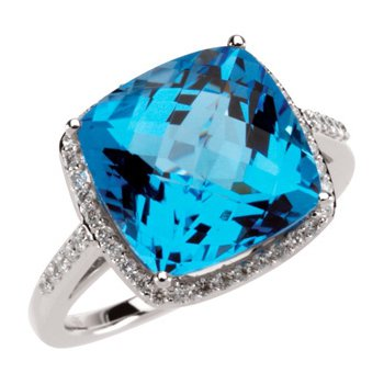 Genuine Checkerboard Swiss Blue Topaz & Diamond Ring