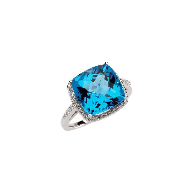Signature Collection Genuine Checkerboard Swiss Blue Topaz & Diamond Ring