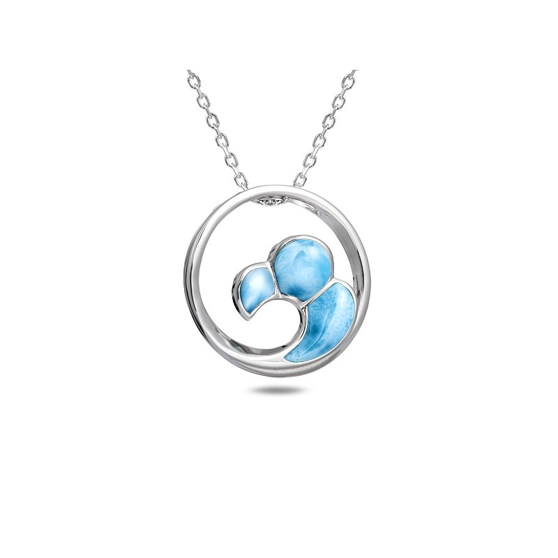 Sealife Jewelry Sterling Silver Wave Pendant with Larimar